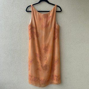 Vintage Creamsicle Sleeveless Silk Dress